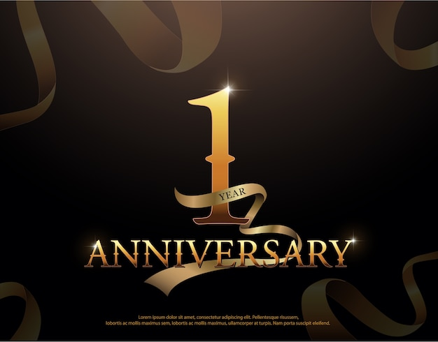 1 year anniversary celebration logotype template
