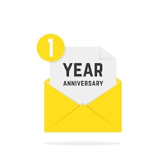 黄色の文字で1周年記念アイコン。お祝いのテキスト、受信トレイ、楽しみ、通知、記念、証明書、成功、電子メール、smsの概念。白い背景の上のフラットスタイルのモダンなロゴタイプのグラフィックポスターデザイン