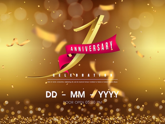 1 year anniversary template on gold background.