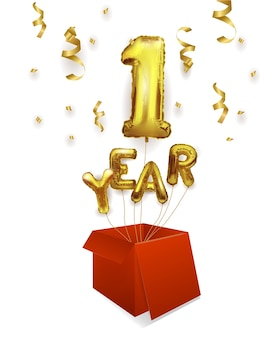 1 year gold balloons. first anniversary celebration. balloons with sparkling confetti flying out of the box, number 1.