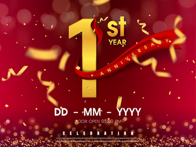1 years anniversary template on gold background.