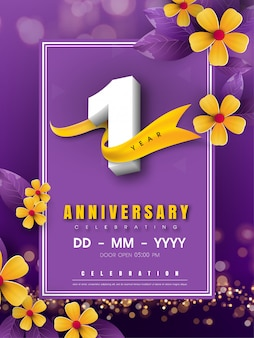 1 years anniversary template on golden flower and purple background