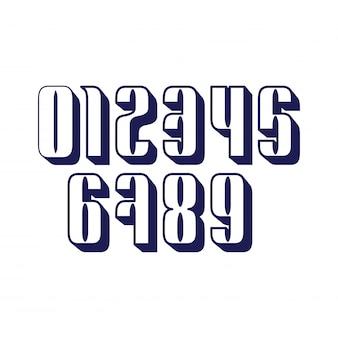 10個の数字のセットは、影で0から9までを形成します