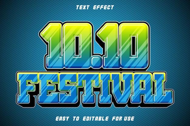 10.10 festival editable text effect emboss modern style