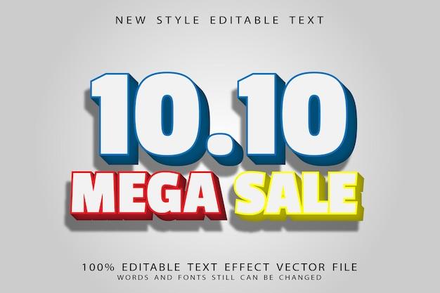 10.10 mega sale editable text effect emboss modern style