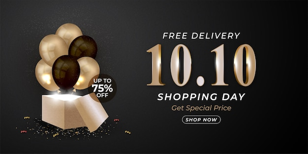 10.10 mega sale realistic banner with balloons and gift box template