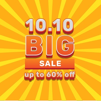 10 10 october big sale discount offer promotion with orange text social media banner template