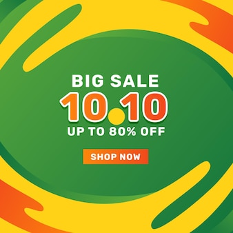 10 10 october big sale offer promotion banner sales advertising social media post template with green background and yellow fluid wave