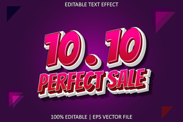 10.10 perfect sale with cartoon style editable text effect
