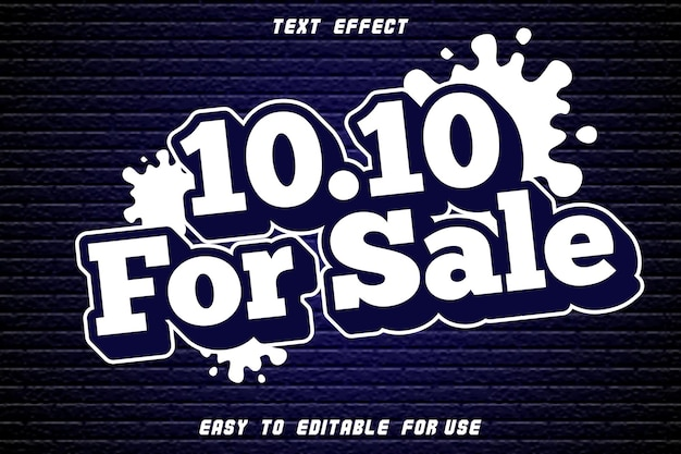10.10 for sale editable text effect emboss modern style