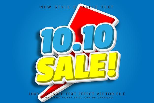 10.10 sale editable text effect emboss modern style