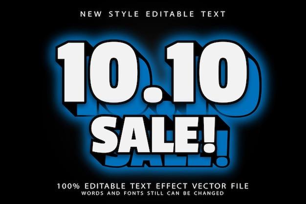 10.10 sale editable text effect emboss neon style