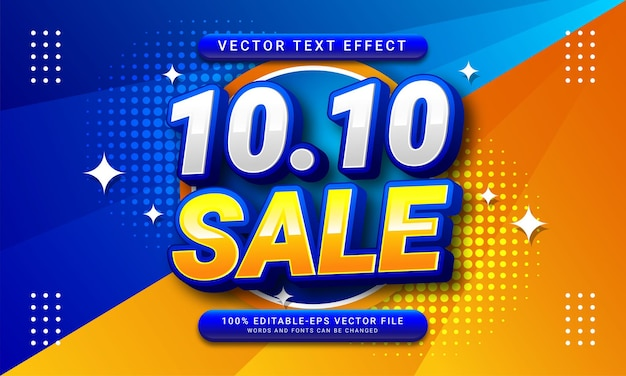 10.10 sale editable text style effect themed october sales promotion