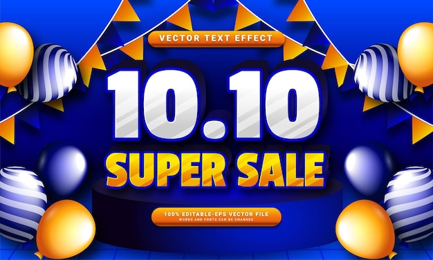 10.10 super sale 3d text effect, editable text style and suitable for promotion sales