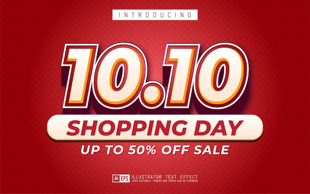 10.10 텍스트 효과, 온라인 쇼핑 데이 판매 배너에 적합한 편집 가능한 3d 텍스트 스타일