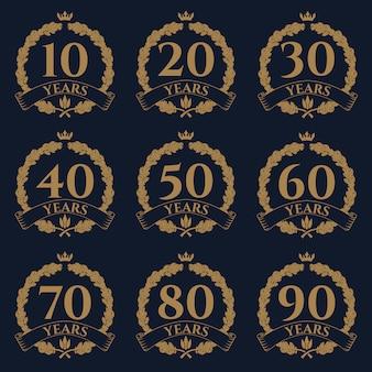 10-100 주년 오크 화환 아이콘입니다.