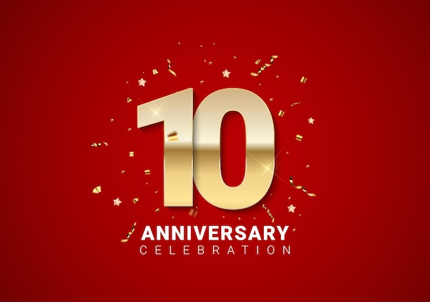 10 anniversary background with golden numbers, confetti, stars on bright red holiday background. vector illustration eps10