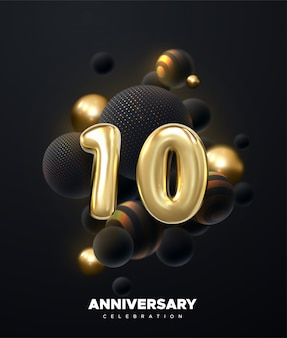 Празднование 10-летия. золотые номера с букетом черного шара. праздничная иллюстрация. реалистичные 3d знак.