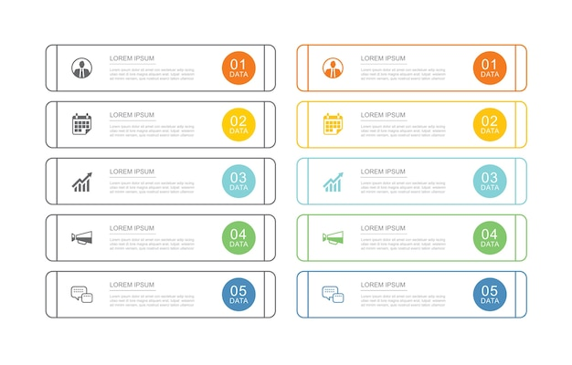 10 data infographics tab index template with thin line .