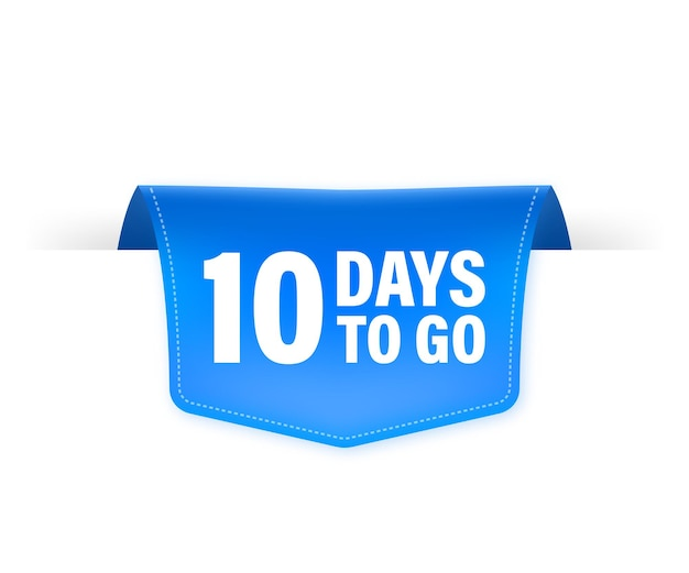 10 days to go poster in flat style.   illustrations for time managment.