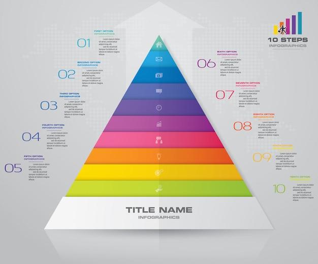 10ステップのピラミッドプレゼンテーションチャート。 eps10。