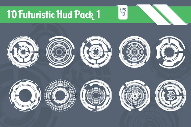 10 futuristic hud elements technology hi tech pack