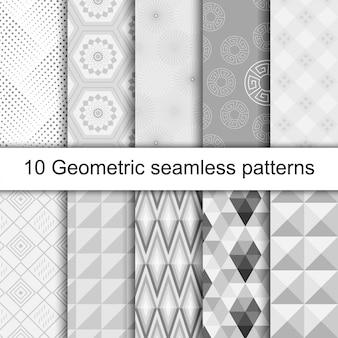 10 geometric grey seamless patterns