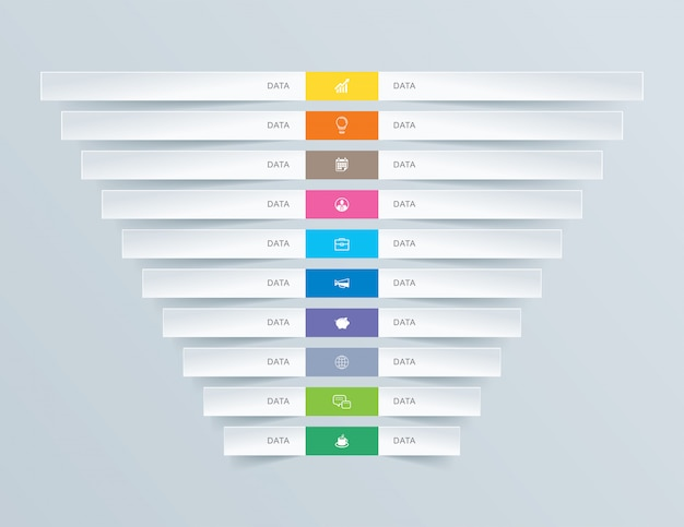 10 graph data infographics tab paper index template.