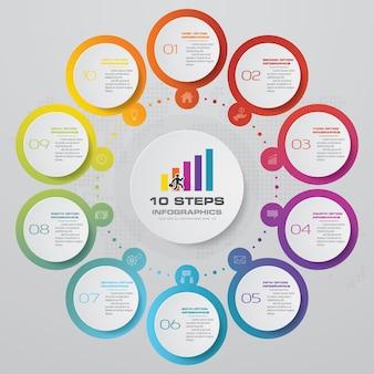 プレゼンテーションのための10ステップのinfographics要素図。