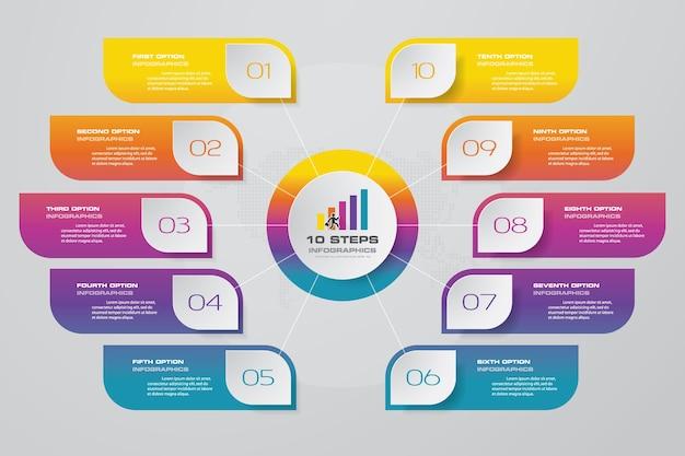 10ステップのプロセスチャートのinfographics要素。