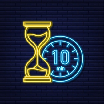 The 10 minutes stopwatch vector neon icon stopwatch icon in flat style