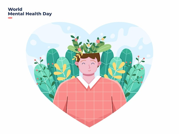 10 october world mental health day vector illustration with floral element
