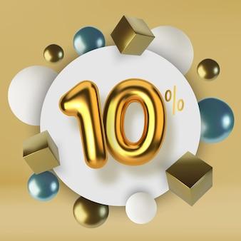 Скидка 10 на скидку на распродажу из 3d-золотого текста реалистичные сферы и кубики