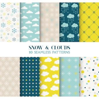 10 seamless patterns snow and clouds  texture for wallpaper