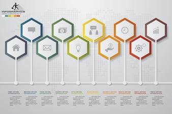 10段階の抽象的なタイムラインのInfographic要素。