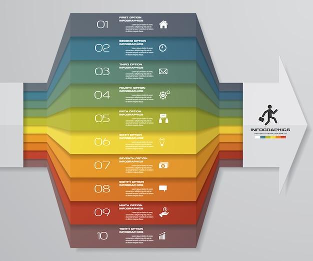 10ステップ矢印infographics要素図。