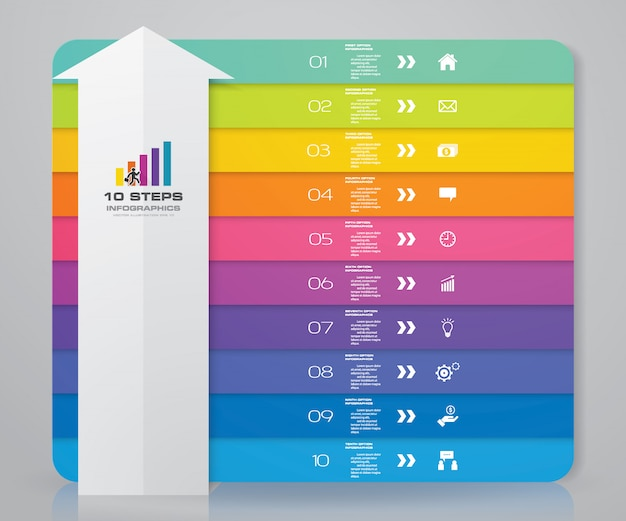 10 steps arrow infographics element template chart.