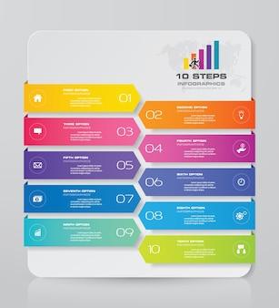 10 steps chart infographics elements for data presentation.