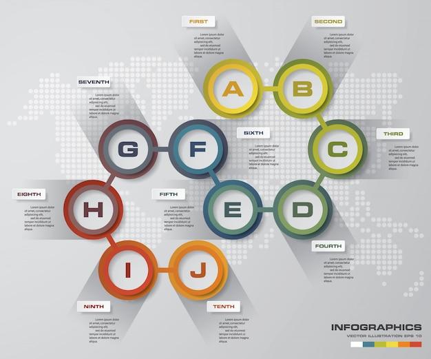 10 steps chart infographics elements.