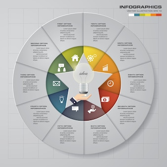 10 steps cycle chart with star shape in middle infographics