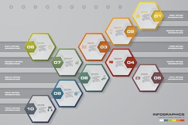 データ提示のための10ステップinfograficsテンプレート。