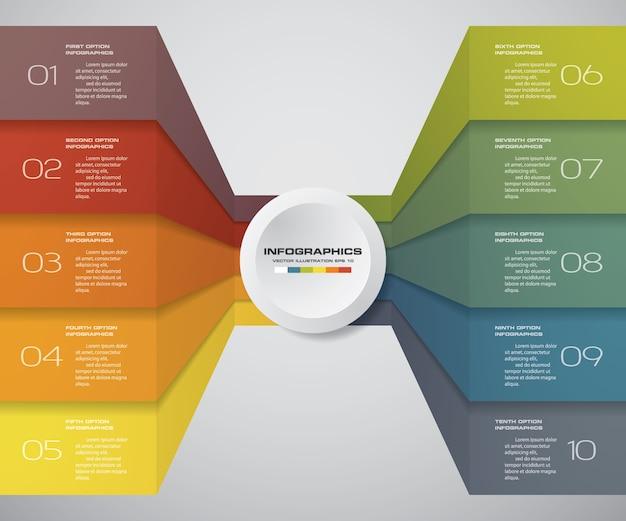 10 steps of infografics template for your presentation.