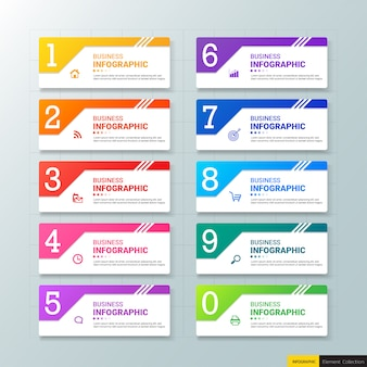 10 steps infographics charts template