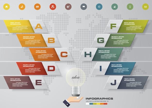 プレゼンテーションのための10段階のinfographics要素図。