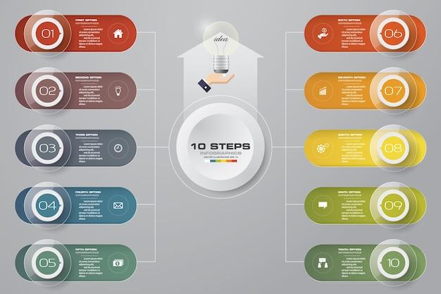 10ステップのinfographics要素プレゼンテーション。