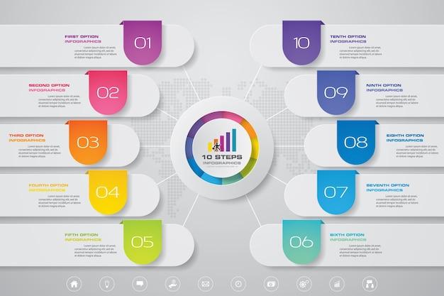 10 steps modern chart infographics elements.