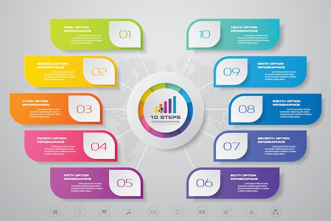 10 steps modern chart infographics elements.