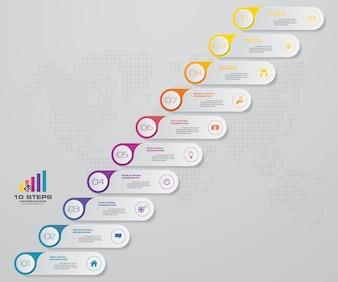 10 steps presentation chart.