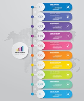 10 steps process chart infographics element.