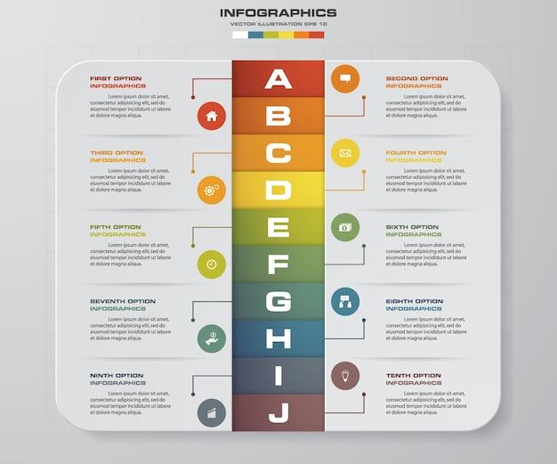 10ステップは、infographicsデザイン要素を処理します。